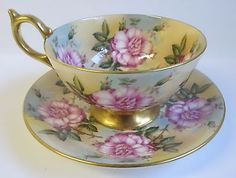 AYNSLEY PINK FLOWERS CABBAGE ROSES OR PEONIES #1026 ATHENS TEA CUP AND SAUCER