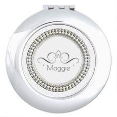 """MONOGRAM NAME "" Round* Silver Ornate II-Template Vanity Mirror"