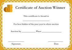 silent auction winner certificates - Auction Certificate Template