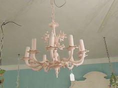 antique chandelier painted pink www.vintagechicfurniture.com