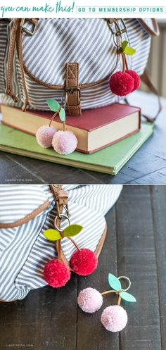 DIY Tutorial: Cherry Pom-Pom Keychains Make Bommel ✄ Simple Crafts. Tassels Pom Pom cherries The post DIY Tutorial: Cherry Pom-Pom Keychains appeared first on DIY Fashion Pictures. Yarn Crafts, Crafts To Sell, Diy And Crafts, Arts And Crafts, Simple Crafts, Simple Diy, Simple Craft Ideas, Easy Diy, Simple Projects