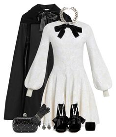 """Alexander McQueen Black & White Bows Outfit"" by helenehrenhofer ❤ liked on Polyvore featuring Alexander McQueen"