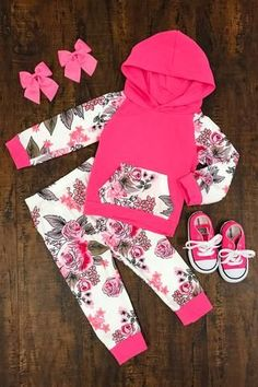 Hot Pink Floral Infant Hoodie Pant Set