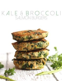 Kale and Broccoli Salmon Burgers | Hummusapien