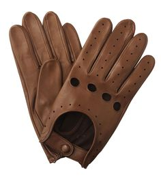 Mens Leather Driving Glove - Tan Brown
