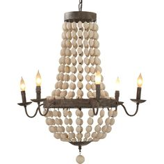 Showcasing candle-style bulbs, wooden bead details, and a gray bronze finish, this attention-grabbing chandelier evokes Old World appeal in your foyer or dining room. Empire Chandelier, Beaded Chandelier, Rustic Chandelier, Chandelier Lighting, Kitchen Chandelier, Rectangle Chandelier, Chandeliers, Room Lights, Ceiling Lights