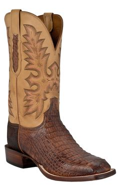 Lucchese® Cowboy Collection™ Men's Tan Brown Hornback Gator Exotic Square Toe Cowboy Boots