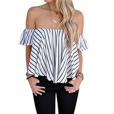 BlouseUPLOTER Women Off Shoulder Stripe Casual Blouse Shirt Tops Large * See this great product.