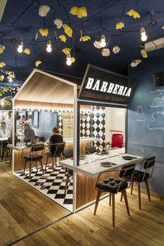 Spanish studio El Equipo Creativo has designed an interior for the Bellavista del Jardín del Norte restaurant in the center of Barcelona. Design Shop, Kiosk Design, Coffee Shop Design, Cafe Design, Retail Design, Store Design, Interior Design, Modern Interior, Logo Design