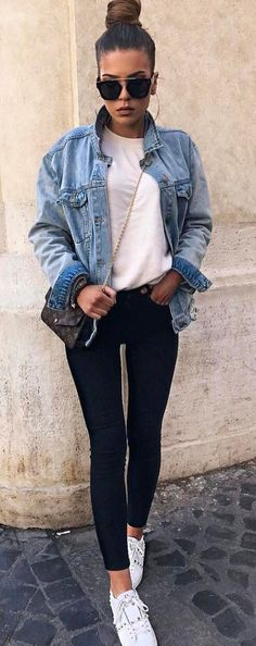 cool ootd denim jacket + top + skinnies