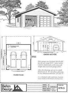 SUV Sized Two Car Garage Plan 676-5  26' x 26' by Behm Design