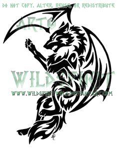 Tribal Dragon Wolf Tattoo by WildSpiritWolf on DeviantArt Wolf Tattoos, Tribal Drawings, Tribal Wolf Tattoo, Tribal Sleeve Tattoos, Wolf Tattoo Design, Celtic Tattoos, Body Art Tattoos, Bat Tattoos, Tatoos
