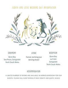 Katie Wilson custom illustrated information card for medieval wedding, dragon and unicorn heraldry shield Wedding stationery via Jolly Edition on Etsy