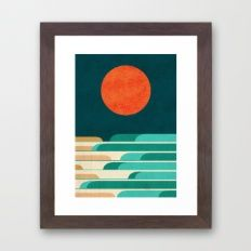 Chasing Wave Under The R… Framed Art Print