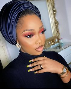 Eyebrow Makeup Tips, Beauty Makeup, Hair Beauty, Eye Makeup, Turbans, African Hair Wrap, Maquillage Black, Eyelashes How To Apply, Hair Wrap Scarf