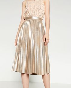 FINELY PLEATED METALLIC MIDI SKIRT-View All-SKIRTS-WOMAN | ZARA United States