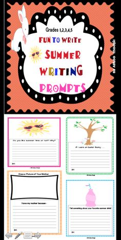 The topics of the writing prompts are: 1) Do you like summer time or not? Why? 2) I love my mother because... 2) If I were an Easter Bunny... 3) Tell something about your favorite summer drink  These colorful differentiated journaling prompts will get kids motivated to write! These are great for students who are beginning to write and also for students who are more advanced writers.