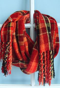 Handwoven Chenille Scarf, Red Plaid $88.00
