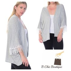 """‼️ Saturday SALE‼️Open Front Cardigan with fringe A great addition to your wardrobe. Open front Fringe trim cardigan that can be worn with absolute everything. Made of soft rayon and spandex blend.  Measurements (approx)  1X: pit to pit (measured from back side) 33"""" Length 31""""  2X: pit to pit (measured from back side) 34"""" Length 32""""  3X: pit to pit (measured from back side) 35"""" Length 33"""" Bellino Clothing Tops"""