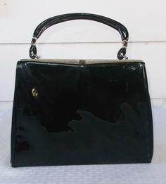 1960s Vintage Shiny Black Patent Leather Purse by MyVintageHatShop