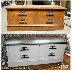 Little House in the Big D: Chalk Paint trail and Hope Chest makeover Reclaimed Furniture, Refurbished Furniture, Repurposed Furniture, Furniture Makeover, Trunk Makeover, Chalk Paint Furniture, Furniture Projects, Diy Furniture, Diy Projects