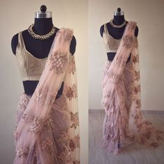 "46 Likes, 8 Comments - House Of 2 (@house_of_2) on Instagram: ""Gorgeously hand crafted baby pink net Saree with sequin work and hand embroidered To purchase this…"""