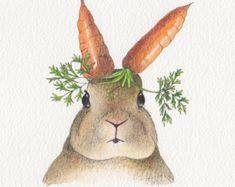 Rabbit Easter card Design No 26 by Chopskeenan on Etsy Gouache Painting, Watercolor Paintings, Watercolours, Carrot Drawing, Original Art, Original Paintings, Watercolor Images, Cute Bunny, Bunny Rabbit