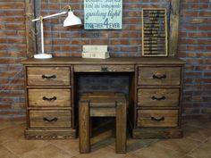 Psací stůl borovicový voskovaný Rustyk Home Office, Solid Pine, Office Furniture, Corner Desk, Desktop, Shelves, Home Decor, Spaces, Medium
