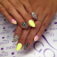 by Indigo Educator Ania Leśniewska :) Follow us on Pinterest. Find more inspiration at www.indigo-nails.com #nailart #nails #indigo #summer #lemon #animal #print #aztec