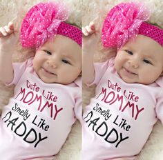 71e8728ae30e Cotton Newborn Baby Girls Pink Bodysuit Cute Like Mummy Pink Jumpsuit Outfits  Clothes Summer 0 24M-in Bodysuits from Mother   Kids on Aliexpress.com ...