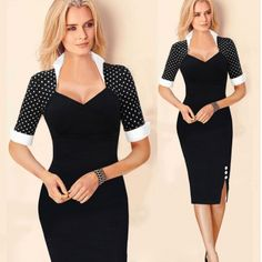 USD11.49Cheap Vintage Fashion V Neck Short Sleeves Patchwork Black Blending Sheath Knee Length Pencil Dress