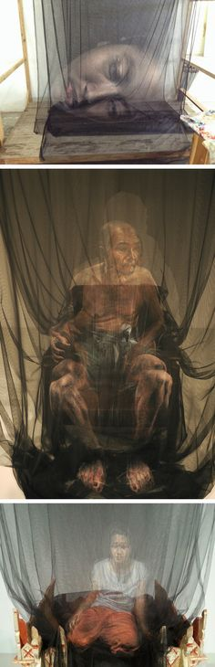 Ghostly Portraits Painted Onto Layers of Netting by Uttaporn Nimmalaikaew