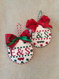 Red & Green Needlepointr Ornaments