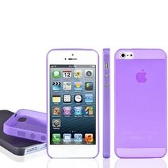 Чехол ультратонкий мягкий пластик 0.3мм Фиолетовый для IPhone 5&5s