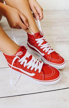 Vans | SK8-Hi Slim Racing Sneaker - Racing Red/True White | New Arrivals | Peppermayo