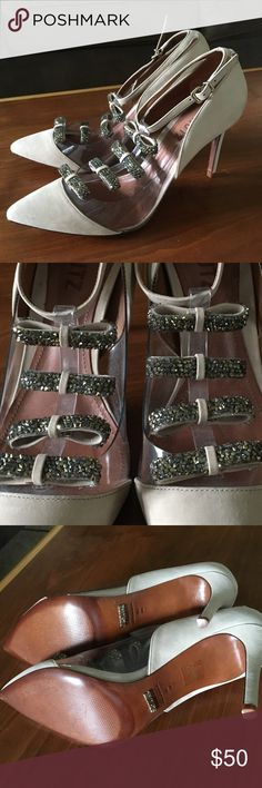 Schutz heels with rhinestone bows Gorgeous brand new Schutz t-strap heels from Anthropologie. Tons of sparkly rhinestones all over the leather bows. Worn once to try on. These Cinderella heels need a night out! SCHUTZ Shoes Heels