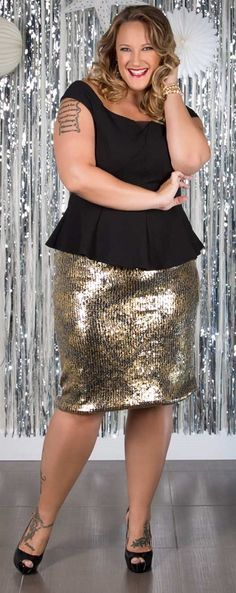 Image 4 of Club L Plus Size Bodycon Dress With Sequin Skirt | BBW ...
