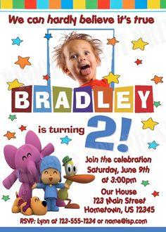 DIY PRINTABLE - Pocoyo Party Photo Invitations $12.00