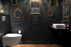 32 Small Bathroom Design Ideas for Every Taste - The Trending House Bad Inspiration, Bathroom Inspiration, Decoration Restaurant, Dark Interiors, Small Bathroom, Bathroom Black, Gothic Bathroom, Dark Bathrooms, Ensuite Bathrooms