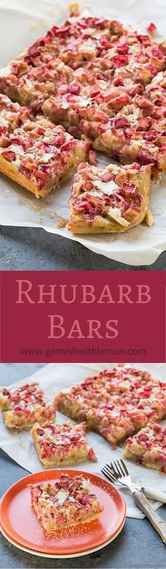 Let the tangy flavor of rhubarb shine through with these easy, one-bowl Rhubarb Bars! ~ http://www.garnishwithlemon.com