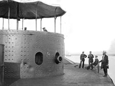 36 The deck and turret of the ironclad U.S.S. Monitor on the James River, Virginia, on July 9, 1862. the Monitor was the first ironclad war...