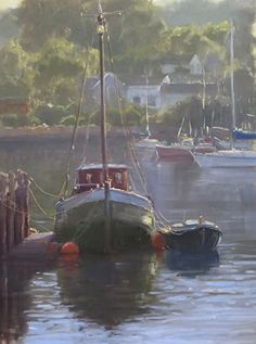 Gloucester Morning by Kathleen Dunphy Oil ~ 18 x 14 Paintings I Love, Beautiful Paintings, Landscape Art, Landscape Paintings, Boat Painting, Outdoor Painting, Boat Art, Pastel, Seascape Paintings