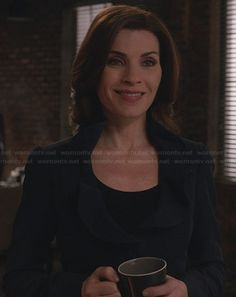 Alicia's navy jacket with ruffled collar on The Good Wife.  Outfit Details: http://wornontv.net/29292/ #TheGoodWife