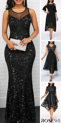 Black Sleeveless Mesh Panel Sequin Maxi Summer Chic Women Modest Dress. Shop the different styles in sizes for any body shape at Rosewe.com. #dress#black#chic