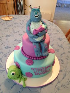 monster inc baby shower cake Dubey Cakes Pinterest Shower