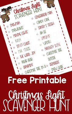 Christmas Lights Scavenger Hunt FREE PRINTABLE. Use while you go on a Christmas Lights adventure & see what you can find!