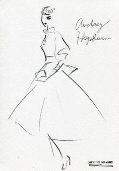 Miyuki Ohashi fashion illustration, Wedding style Audrey Hepburn