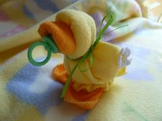 Baby Quackers in Yellow  Washcloth Ducks..Washcloth Animal..Baby Shower...Duck Themed Baby Shower..Baby Washcloths via Etsy