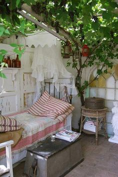 could do this with an outdoor space: put up a semi-translucent white plastic roof, a little detached from walls, and train growing vines to wrap around rafters just underneath. outside living Outdoor Rooms, Outdoor Living, Outdoor Decor, Outdoor Bedroom, Garden Bedroom, Bedroom Decor, Pergola, Patio Interior, Interior Design