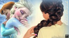 Disney's Frozen hair tutorial video. Learn how to get braids as big as Elsa's hairstyle and then invert them. Cute Elsa braid updo style.